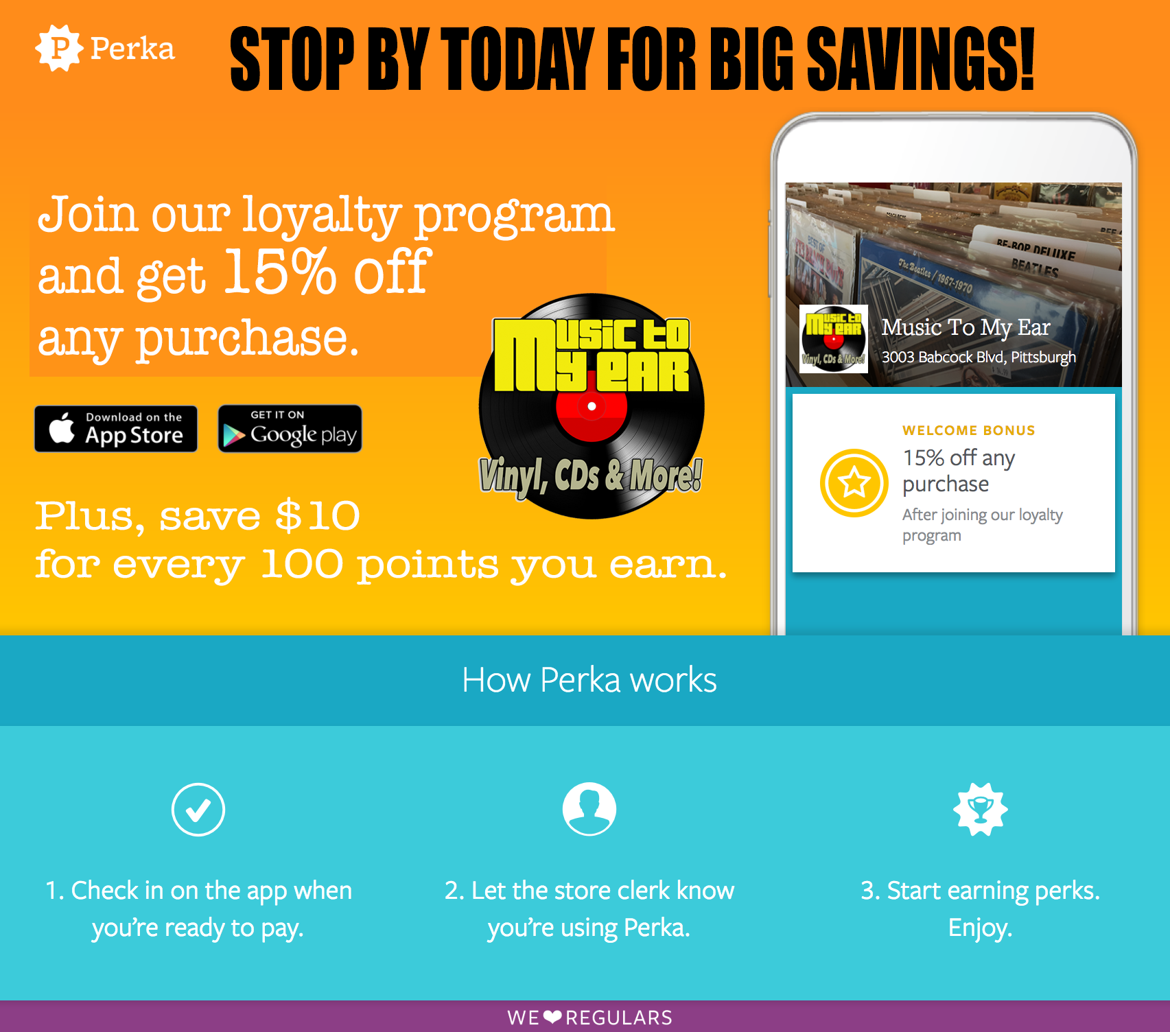 Music To My Ear offers big savings with Perka Rewards Program.